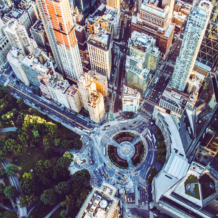 Aerial of Columbus Circle and Central Park NYC